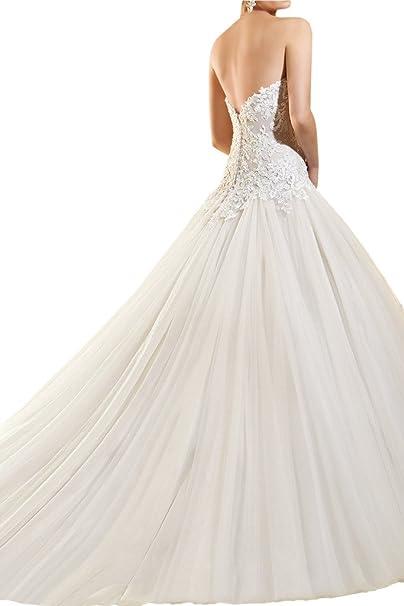 La_mia Braut 2017 Neu Elfenbein Edel Spitze Herzausschnitt Damen  Hochzeitskleider Brautkleider Brautmode Lang Schleppe: Amazon.de: Bekleidung