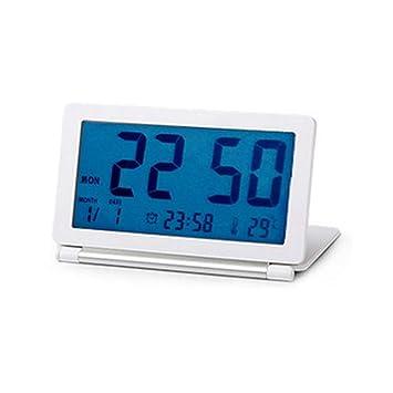 Reloj de Mesa electrónica Flip Viaje Reloj Despertador LCD termómetro Plegable Mute luz de Noche,B: Amazon.es: Hogar