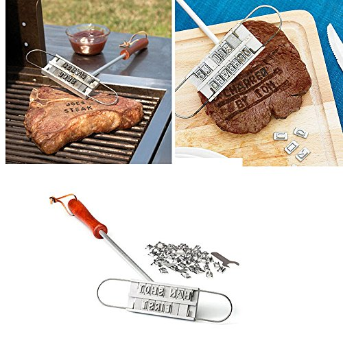 SUJING BBQ Meat Branding Iron with Changeable Letters Personalized Barbecue Steak Names Press Tool for Grilling