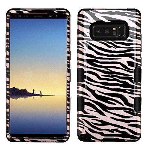 Silicone Skin Zebra (MyBat Cell Phone Case for Samsung Galaxy Note 8 - Zebra Skin/Black (2D Rose Gold)/Black Image)