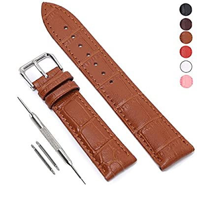 STYLELOVER Leather Watch Band, Genuine Cowhide Replacement Watch Strap for Men and Women 18mm 20mm 22mm from TOMTOP