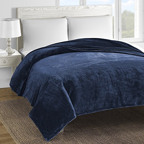 Comfy Bedding Double-layer Fleece Bed Blanket Navy blue Queen