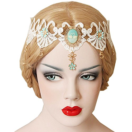 [Bonnie Z. Leonardo Halloween Forehead Headband Hair Accessory Set WhiteAngel] (Sexy Ice Princess Costumes)