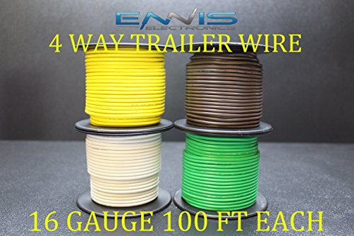 16 GAUGE TRAILER LIGHT WIRE 400 FT ENNIS ELECTRONICS 4 WAY TRAILER LIGHT 100 FT SPOOLS PRIMARY CABLE BROWN GREEN YELLOW WHITE (Of Spools Trailer Wire)