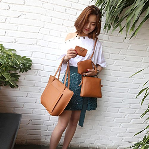 Bags Fashion Four Brown Handbag TUDUZ Wallet Casual Tote Set Women Pieces Shoulder Four Bag Crossbody tUnw0
