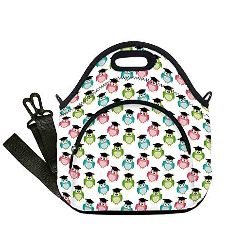- Graduation Decor Wear Resisting Neoprene Lunch Bag,Colorful Cute Owls with Graduation Caps Mortarboards Symbols of Wisdom for Picnic Beach Office,With Pocket(12.6''L x 6.3''W x 12.6''H)