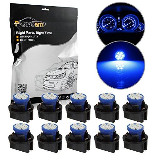 Partsam 10xT10 PC194 168 W5W 2825 SMD LED Gauge Dash Instrument 12V Blue Bulbs 13mm Hole Twist Lock - Corvair Dash