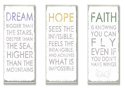 Stupell Home Décor Trio 'Dream ' 'Hope ' And 'Faith ' Inspirational Wall Art Plaques, 7 x 0.5 x 17, Proudly Made in USA (By Faith Love Plaque)