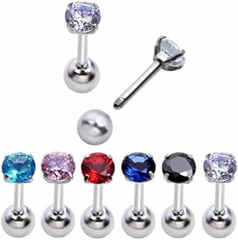 PiercingJ 8-12pcs Unisex Cubic Zirconia Gem Stainlss Steel Barbell Earring/ Cartilage Helix Earring/ Stud Earring