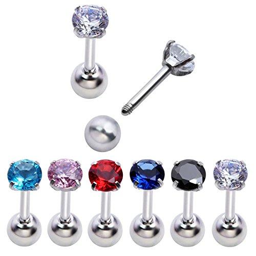 PiercingJ 8-12pcs Unisex Cubic Zirconia Gem Stainlss Steel Barbell Earring/Cartilage Helix Earring/Stud Earring