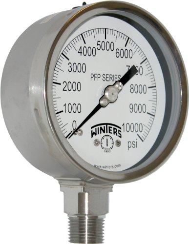 "Winters PFP Series Premium Stainless Steel 304 Single Scale Liquid Filled Pressure Gauge, 0-10000 psi, 4"" Dial Display, +/-1% Accuracy, 1/2"" NPT Bottom Mount"