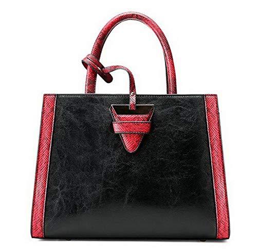cucitura Contrasto Dacron Shopping Nero FBUIBD181863 tracolla Borse a Donna Marrone Moda AllhqFashion tqUgEU