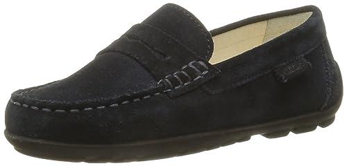Geox J Fast B - Mocasines de cuero niño, Azul - Bleu (C4002), 28: Amazon.es: Zapatos y complementos