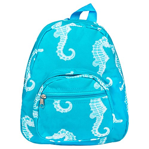 Price comparison product image Patterned Design Polyester 11 inch Elementary Preschool Backpack (Seahorse)