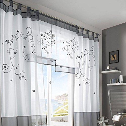 Amazon.de: Souarts Lila Stickerei Blumen Transparent Gardine Vorhang ...