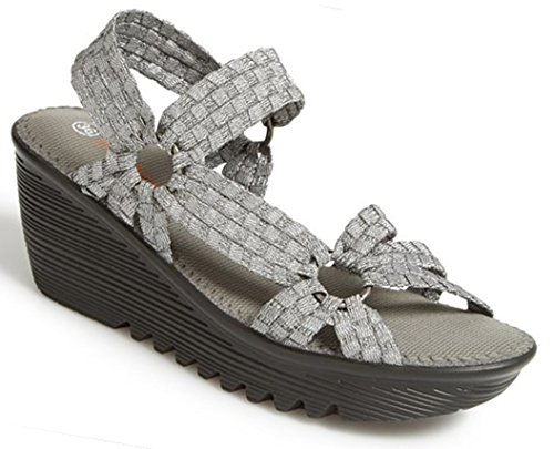 Bernie Mev Womens Crystal Sandal Pewter Size 38