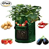 Cheap Asunflower 10 Gallon Potato Grow Bags, 4 Pack Garden Planting Bags Potatos Planter Tub with Access Flap for Harvesting,Vegetable Packs w/Holes for Drainage