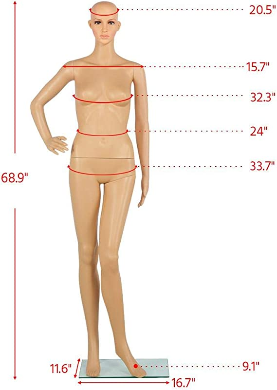 Female Plastic Mannequin Realistic Full Body with Base and Blonde Wig