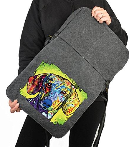 Pop Art Canvas ::: Dackel ::: peppige Umhängtasche mit Art Style Hunde Motiv