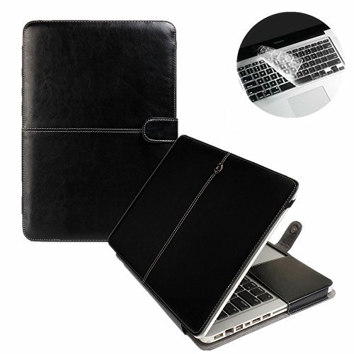 Se7enline Macbook Pro 13 Case PU Leather Book Case for 13 inch MacBook Pro A1278 with CD-Rom 2010-2012 released Sleeve Carrying Cover Folio Case with Transparent Keyboard Cover, Black (Macbook Pro Case 13 Leather)