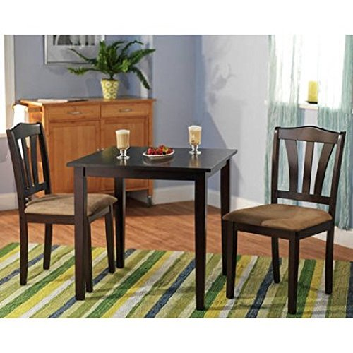 """MPN 3 Piece Dining Set, Multiple Finishes, Espresso, Material Rubberwood, Micro fiber Fabric Foam Small kitchen dining set in your choice, No. of pieces 3, Measurements: 30""""L x 30""""W x 29""""H"""