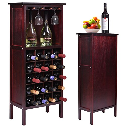 Bottle Holder Storage New Wood Wine Cabinet w/ Glass Rack Kitchen Home Bar ()