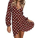 red Dress Shirts for Men,Womens Ladies Autumn Polka Dot Long Sleeve V Neck Mini Dress Party Boho Dress,Club & Night Out Dresses,Wine Red,L