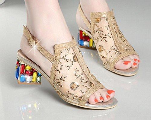 Tacones Rhinestone Altos Mujer Zapatos Neto CYGG Mujer Gold Hilo Verano Sandalias De Cómodos Moda FgfZnqw
