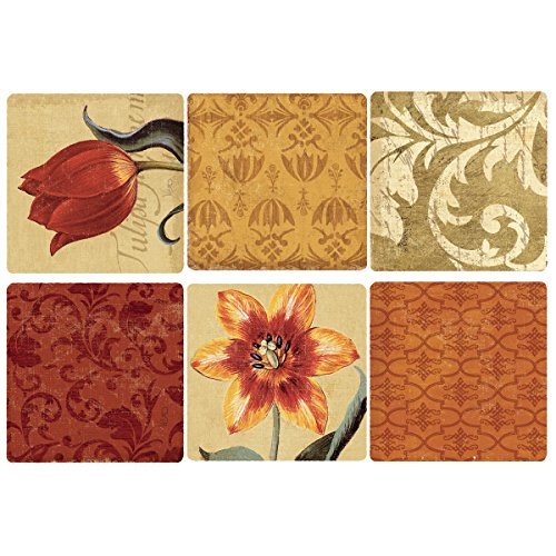 Decorated Tile - Wallies Wall Decals, Tulip Medley Wall Stickers, Set of 12 Squares
