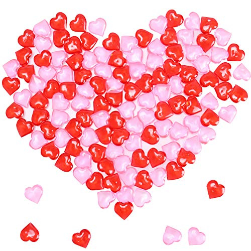 Mayam 150 Pieces Acrylic Hearts for Valentine's Day Heart Ornaments Wedding, Party Vase Fillers Table Scatter Decoration (Red and Pink)]()