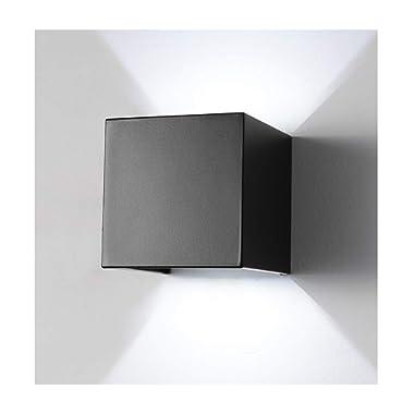 LED Aluminum Waterproof Wall Lamp ,12W 85-225V 6000K Adjustable Outdoor Wall Light White Light 2 LEDS (Black-white light)