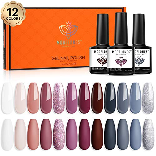 Gel Nail Polish 12 PCS Colors Fall Winter Holiday 7ml Gel Polish Set Soak Off Gel Nail Kit Glitter Nail Gel Polish Starter Kit Nail Art Beauty Gifts Set by Modelones