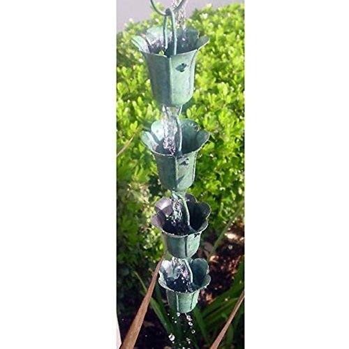 Single Piece Green Outdoor Decoration Patina Rain Chain, Elegant Tulip Motif Pattern, Classic Green Patina Finish With High Quality Metal Rain Chain