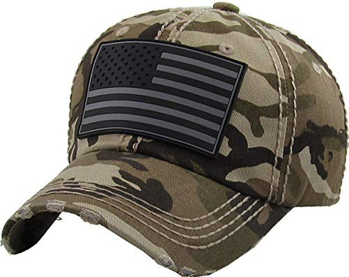 BHM-205-AF-G-D84 Mens Baseball Cap - American Flag (Grey Patch) - Desert Camo