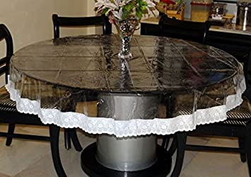 Heat Resistant,Easy Clean Waterproof Plastic Table Cover, Crystal Clear PVC  Tablecloth Protector (