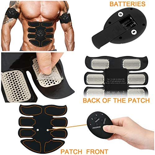SPORTLIMIT Abs Stimulator, Wireless Portable Fitness Workout Equipment for Men Woman Abdomen/Arm/Leg Home Office Exercise,10pcs Free Gel Pads 4