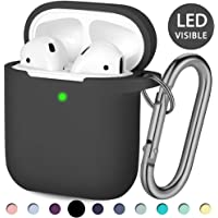 Hamile Compatible with AirPods Case [Front LED Visible] Soft Silicone Protective Cases Cover Skin Designed for Apple AirPod 2 & 1, Women Men, with Keychain (Black)