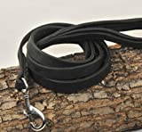 Dean & Tyler Soft Touch Leather Dog Leash with Black Padded Handle and Stainless Steel Snap Hook, 5-Feet by 3/4-Inch, Black