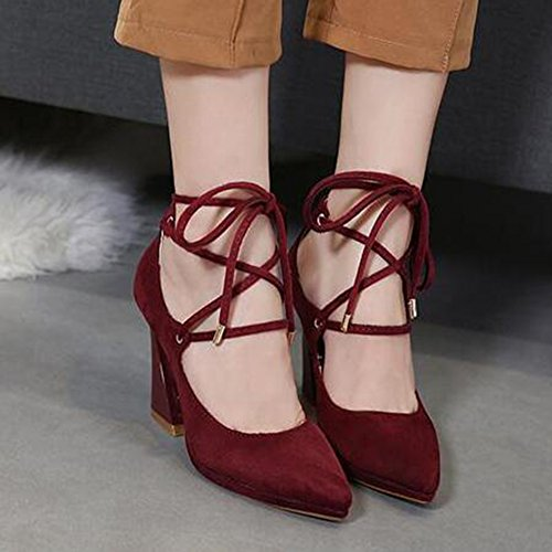 Easemax Womens Sexy Faux Suede Self Tie Pointed Toe High Chunky Heel Pumps Shoes Claret GgnqjkwKqK