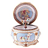 MagiDeal Retro Exquisite Carousel Music Box Colorful LED The Moon Represents My Heart