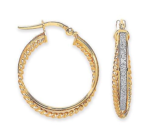 Jewellery World Bague en or jaune 9carats Lune & bord côtelé-Boucles d'Oreilles Créoles Femme -