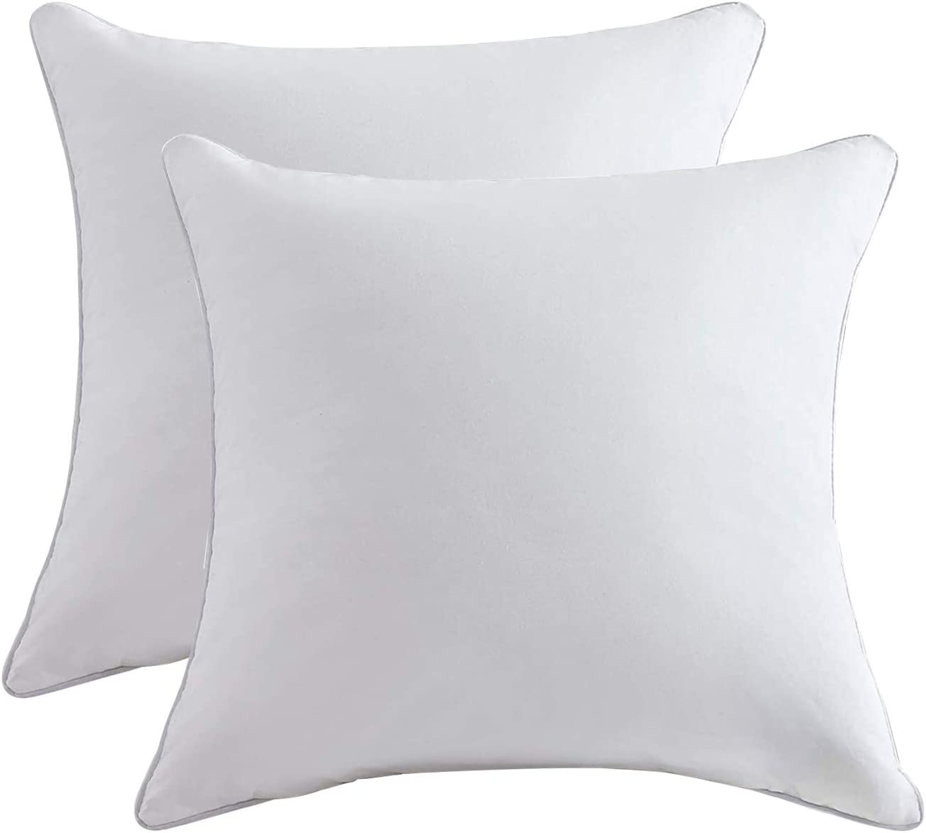 Lipo Throw Pillow Inserts (Pack of 2, White), Decorative Pillows Inserts with 100% Cotton Cover, Square Pillow for Cushion Bed Couch Sofa Car, 20x20 Inch