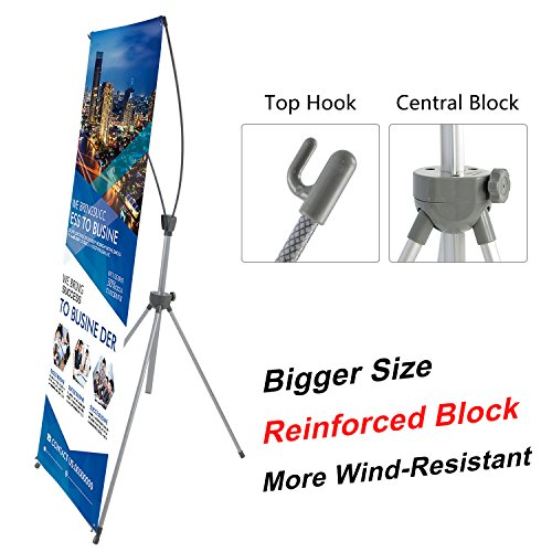 T-Sign Reinforced Block Adjustable Tripod X Banner Stand Fits Any Banner Size from 23''X63'' to 32''X78'' with a Protable Traveling Bag for Trade Show Exhibition, Bigger Size More Adaptable by T-Sign