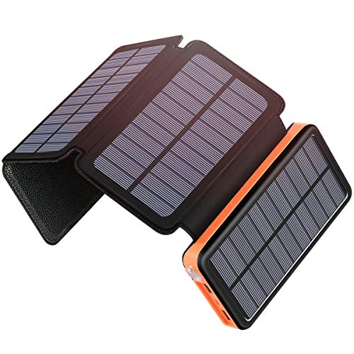 Solar Charger 25000mAh, SOARAISE Power Bank with 4 Solar Panels and USB Type-C Port Waterproof Battery Pack for Smartphone, Tablet and Camping (Laptop Solar Charger)
