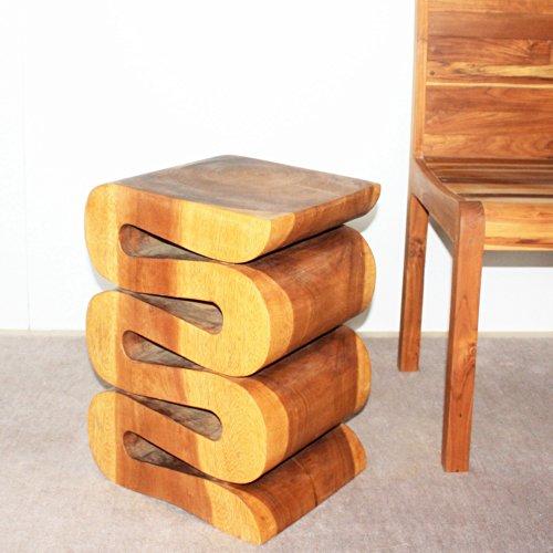 Wave Accordion Side Table 12x14x20 inch H Sust Monkey Pod Wood w Livos Oak Oil F