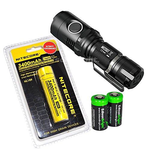 Nitecore MH20GT CREE LED 1000 Lumen 395 yards beam USB Rechargeable Flashlight, Nitecore NL189 18650 3400mAh rechargeable Li-ion battery, USB cable, Holster 2 X EdisonBright Cr123A batteries bundle