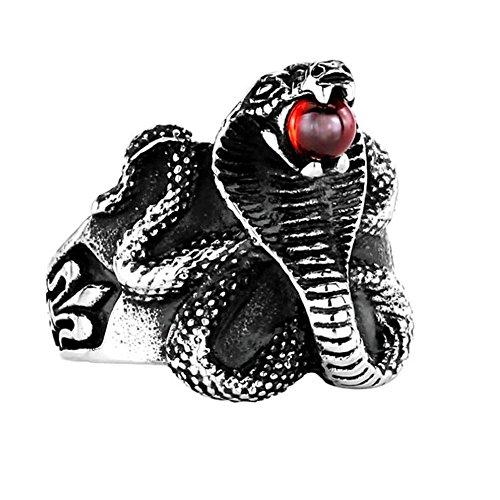 PMTIER Men's Vinatge Stainless Steel Punk King Cobra Snake Ring with Agate Gemstone, Red Size 8 (Ring Cobra)