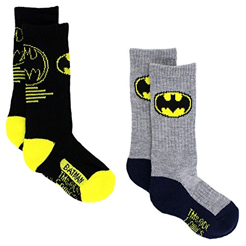 Batman Boys 2 pack Sport Socks (6-8 Boys, Batman Black/Grey)