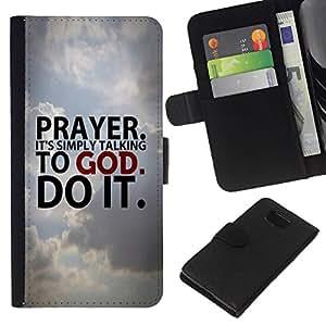 All Phone Most Case / Oferta Especial Cáscara Funda de cuero Monedero Cubierta de proteccion Caso / Wallet Case for Samsung ALPHA G850 // BIBLE Prayer. It'S Simply Talking To God.