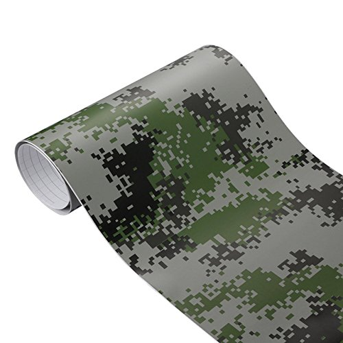 Woodland Camouflage Accents - Protective Shields , Camouflage Vinyl Film,1PC Car-Styling 50x200cm Camouflage Adhesive PVC Vinyl Film Car Wrap Army Military Camo Woodland Digital Sticker Vehicle DIY Decal - Green Digital